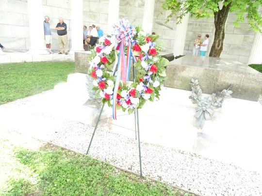 The wreath placed at the Harding Memorial on Saturday morning.