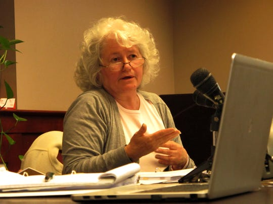 Burlington City Councilor Sharon Bushor, I-Ward 1, chairs a meeting of the council's Ordinance Committee on Thursday night.