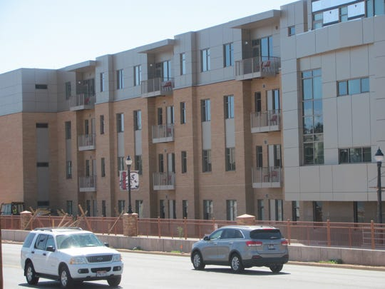 Traffic passes Dixie State University's new Campus