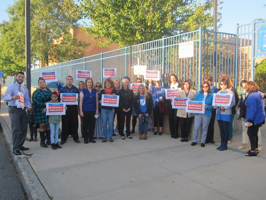 Parents, educators and community leaders met at Wilentz Elementary School on Thursday to call for full funding for New Jersey schools in accordance with the current funding formula for education and launch a petition against Gov. Chris Christie's proposed cuts at www.paf-aft.org.