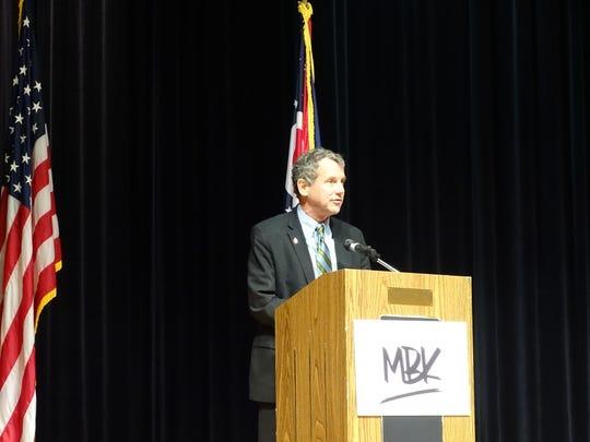 U.S. Sen. Sherrod Brown speaks to students and community