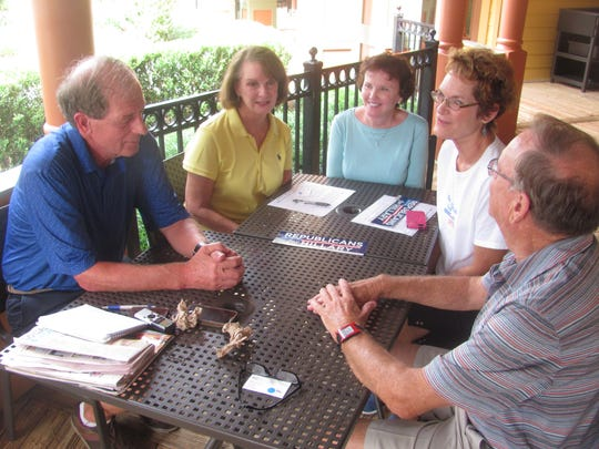Members of the newly formed Republicans for Hillary club meet at The Villages. Lifelong Republican Linda Fogg (second from right) started the group in an effort to stop Donald Trump from becoming president.