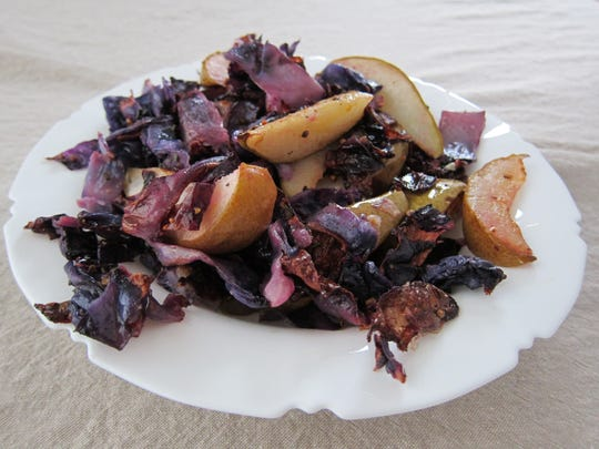 Caramelized Cabbage and Pears with Coriander and Orange Peel is a vibrant dish.