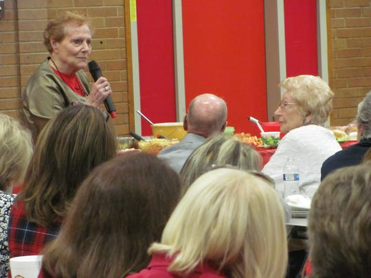Dorothy Malcomson reminisces about her years as a kindergarten and second grade teacher Friday, Nov. 18, 2016 as East Elementary welcomed former students and employees to gather for a final reunion and open house. The school grounds will transfer to Dixie State University as the students and staff move to Legacy Elementary.