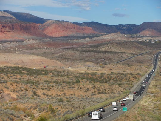 Thanksgiving weekend traffic makes its way toward the Black Ridge on Interstate 15 in Washington County on Saturday. A series of storms are expected to bring colder weather and some precipitation to western Utah's roads during the coming days.