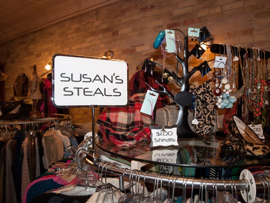 """Susan's Steals"" rack at Susan's Second Style in Manitowoc."