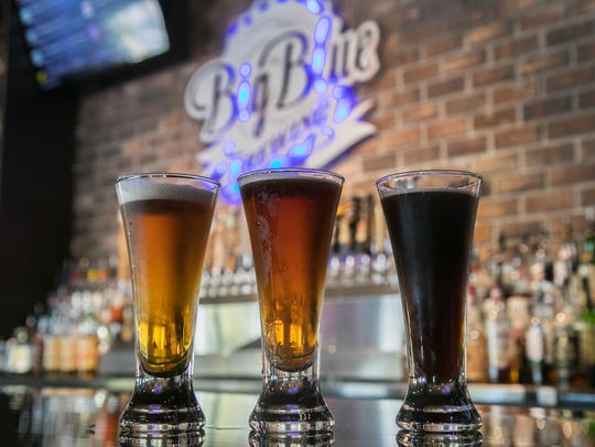 Big Blue Brewing has five of their own beers on tap