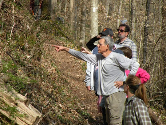Forester Joe Feeman points out wildflowers along River Bluff Trail in Norris Dam State Park.