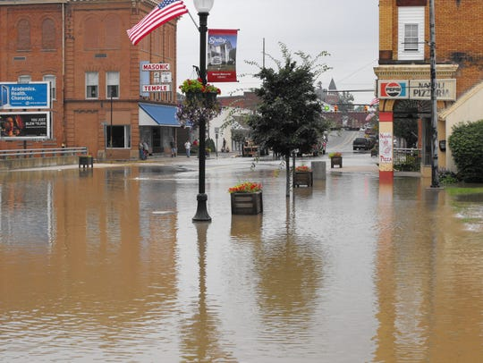 Portions of downtown Shelby shown under water during
