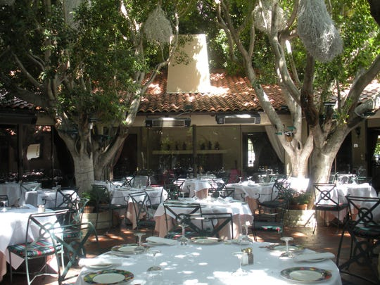The patio at Le Vallauris Restaurant in Palm Springs