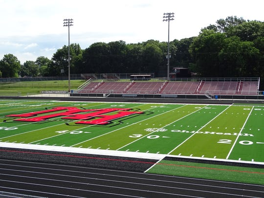 Brightly colored turf has been installed at Harding
