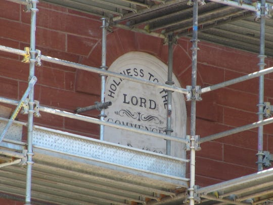 """A sign announcing """"Holiness to the Lord"""" adorns the"""