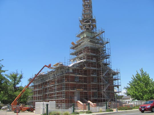 Scaffolding that has surrounded the historic St. George