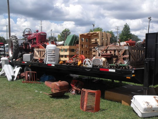 The flea market offered all things tractor and farm like this hay wagon full of treasures for the attendees to appreciate.