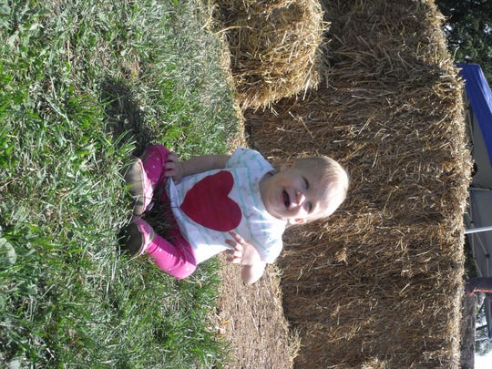 Maddie, who was just one, experienced her first Preston Farm tour with her mom Nikki Pridgeon of Reading, MI.