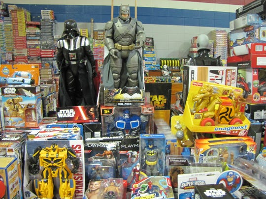 Donated toys are on dispaly at the Toy Shop organized
