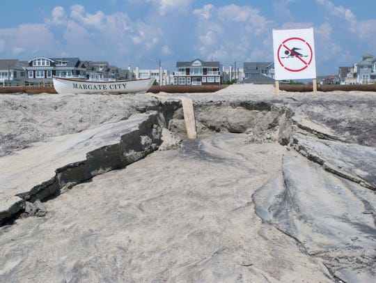 The eroded beach in Margate as it appeared in late