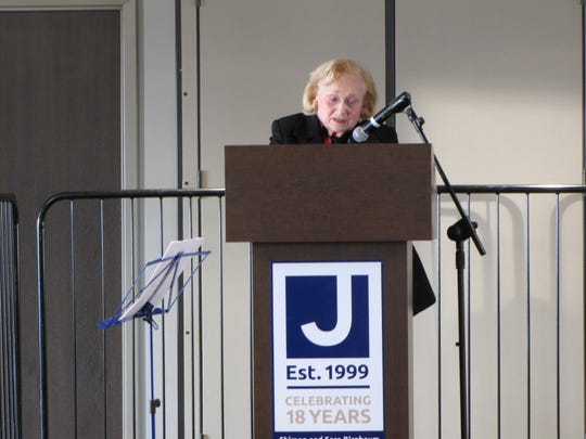 Holocaust survivor Margit Feldman addressed attendees at the dedication of the Shimon and Sara Birnbaum Jewish Community Center (JCC) Holocaust Memorial and Education Center on Sunday, Dec. 10.