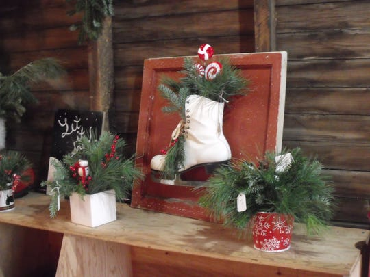 "Some of the greenery gifts made for ""Timberly Treasures"", the gift shop at the Christmas tree farm."