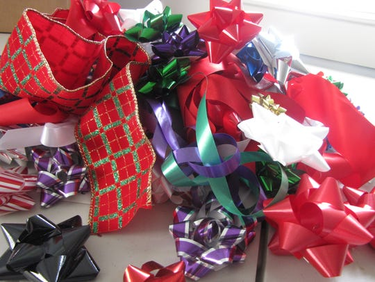 Bows and ribbons for wrapping Christmas presents.