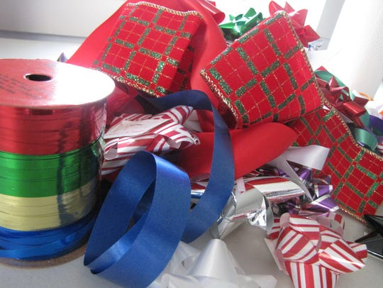 Ribbons for wrapping Christmas presents.