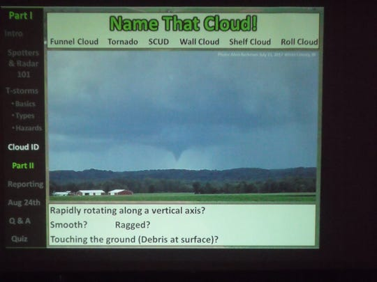 The participants were able to see several examples of cloud formations, allowing them to recognize possible dangerous storms and report their findings.