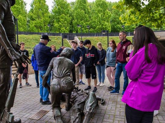 Visitors at the New Jersey Vietnam Veterans Memorial.