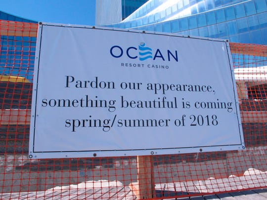 This April 26, 2018 photo shows a sign explaining construction