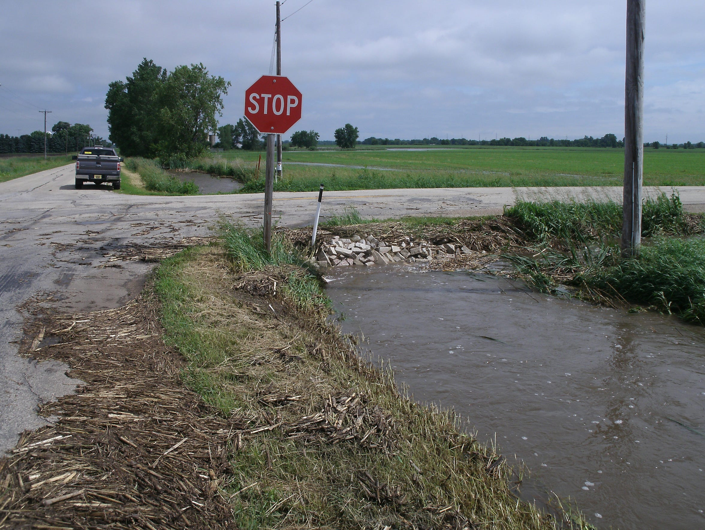 Prior to construction of a box culvert, rain would