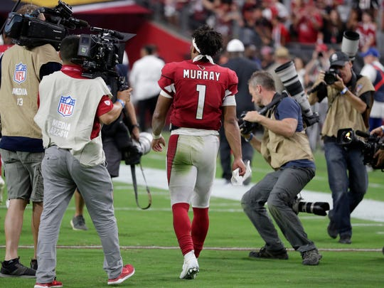 Cardinals quarterback Kyler Murray leaves the field after a game against the Lions on Sept. 8 at State Farm Stadium.