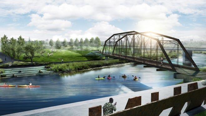 Historic metal bridge to span White River near East Jackson Street.