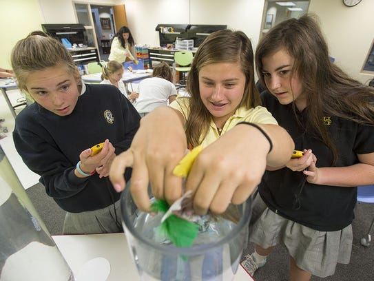 Hutchison girls experiment in the Innovation Lab.