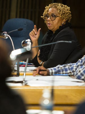Wilmington City Council President Hanifa Shabazz speaks during a meeting of the Community Development & Urban Planning Committee Thursday in Wilmington.