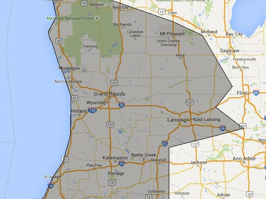 The shaded area represents Google Express' service area in Michigan. Google express launched Tuesday.