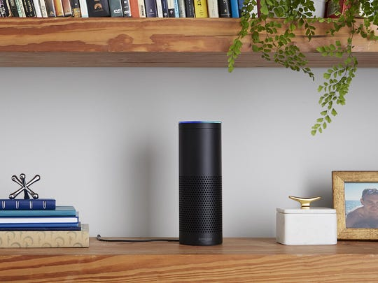 "Amazon's Echo cloud-connected speaker listens for your voice to ask a question or give a command. Using the wake word ""Alexa,"" a sensitive microphone picks up the request and dishes up the info you want in a human-like voice."