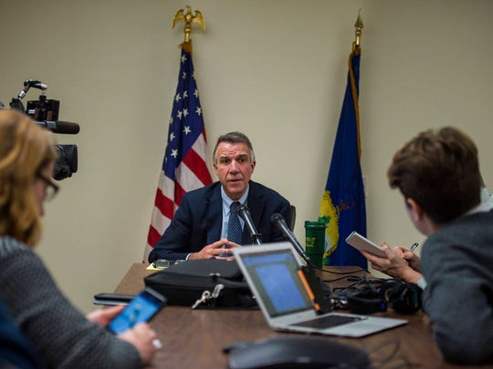 Gov.-elect Phil Scott answers questions during a news conference in Montpelier on Monday, December 12, 2016.