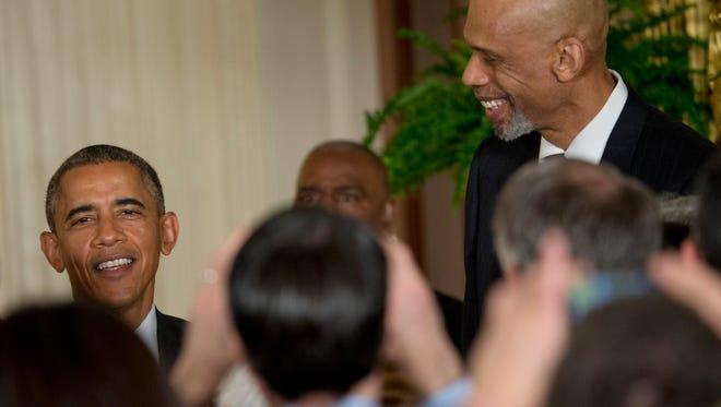 President Obama and former NBA basketball player Kareem Abdul Jabbar at the White House event on  precision medicine.