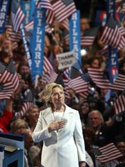 Democratic Presidential candidate Hillary Clinton takes the stage on the final night at the Democratic National Convention in Philadelphia, PA, Thursday, July 28, 2016.