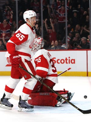 Red Wings goalie Jimmy Howard and defenseman Danny DeKeyser react after allowing a Canadiens' goal in the first period Saturday, Nov. 12, 2016 in Montreal.