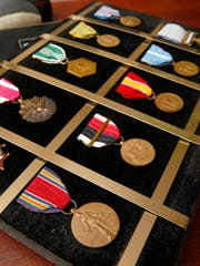 "Medals earned by Alice ""Nora"" Howes, 99, are shown in her Brick Township home Monday, July 3, 2017.  She served in the Women's Army Corp from 1943-1969."