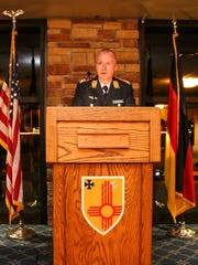 Col. Stephan Breidenbach, commander of the German Air Force Flying Training Center gives a speech at their annual New Year's reception Tuesday evening at Club Holloman.