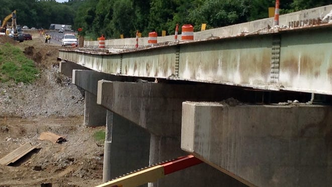 The Interstate 65 northbound bridge over Wildcat Creek east of Lafayette, Ind., on Aug. 5, 2015.