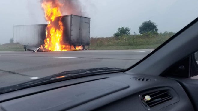 James Paps of Morrow County took this photo of a semi tractor trailer on fire Tuesday morning along I-71 in Morrow County. No one was injured.