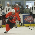 Defenseman Ivan Provorov  skates during an early morning practice at the Flyers' development camp in Voorhees.