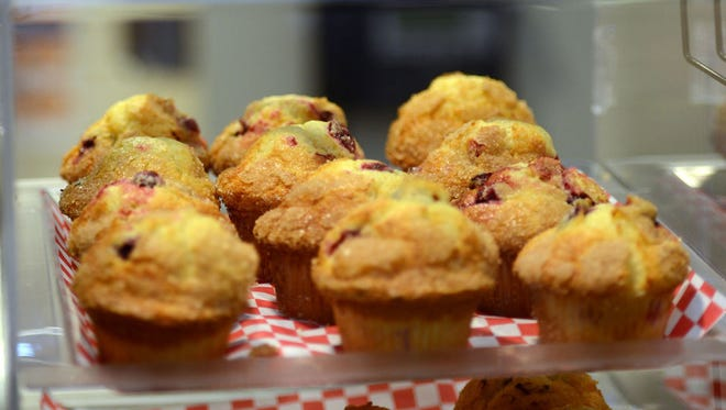 Freshly baked Muffins are ready for sale first thing in the morning at the Meet Me on Main cafe' at the Mason Community Center.