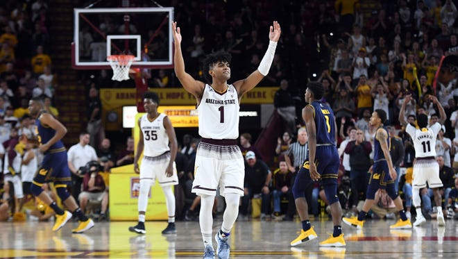 Mar 1, 2018; Tempe, AZ, USA; Arizona State Sun Devils guard Remy Martin (1) reacts against the California Golden Bears during the second half at Wells-Fargo Arena. Mandatory Credit: Joe Camporeale-USA TODAY Sports