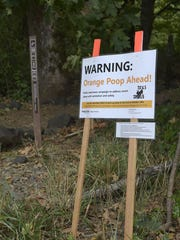 A sign explains why dog feces on the Intensive Management trail have been spray-pointed orange.