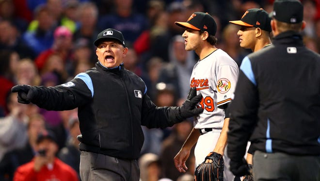 Orioles P Kevin Gausman reacts after being ejected for hitting Xander Bogaerts with a pitch during the second inning.