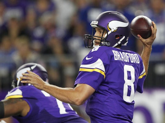 Minnesota Vikings quarterback Sam Bradford throws a pass during the Oct. 3 game against the New York Giants in Minneapolis.