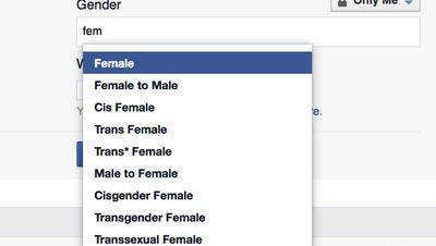 In this screen grab from March provided by Facebook, the available custom gender options are seen on a profile page.